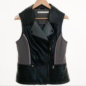 Blanc Noir Faux Leather Moto Vest